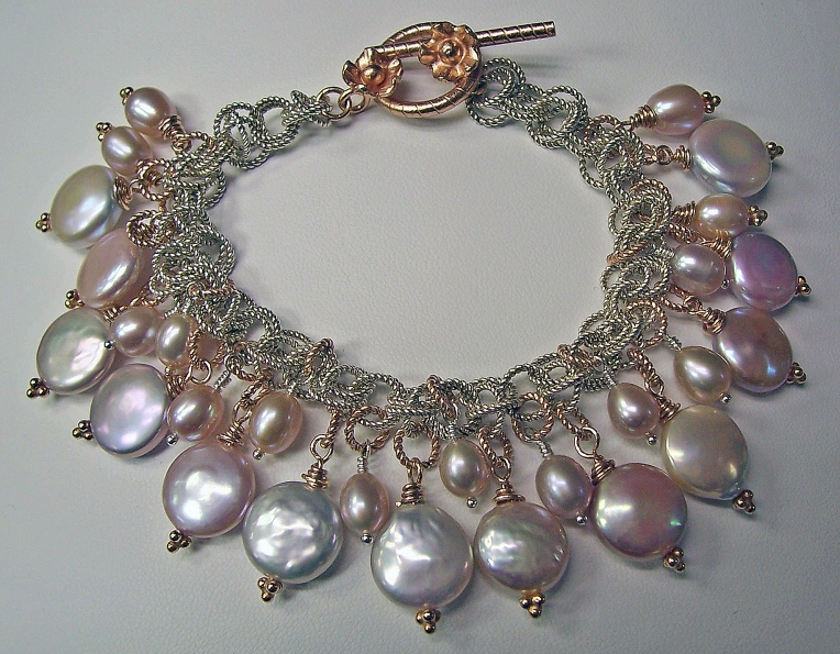 One of a kind designed by Kimberly Arpaia - handmade Classic Collection bracelet with natural color cultured freshwater pearls