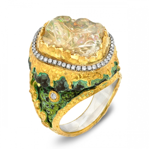 Iconic Jewelry Couture High Karat Gold Bold Color Gem Chat